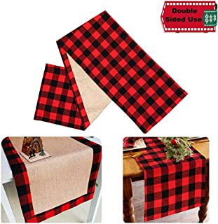 FeChiX Christmas Table Runner Red Black Cotton & Burlap Buffalo Check Double Sided Plaid Table Runner for Christmas Table Decoration Lumberjack Birthday Party Decoration 14x72inch