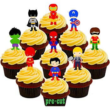 36 SPIDERMAN FACE Edible Cup Cake Birthday Fairy Toppers Wafer STAND UPS