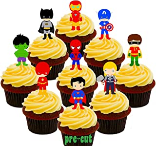 comprar comparacion Paquete de fiesta de superhéroes. Cobertura para cupcakes comestible. Decoración para tartas en oblea comest...
