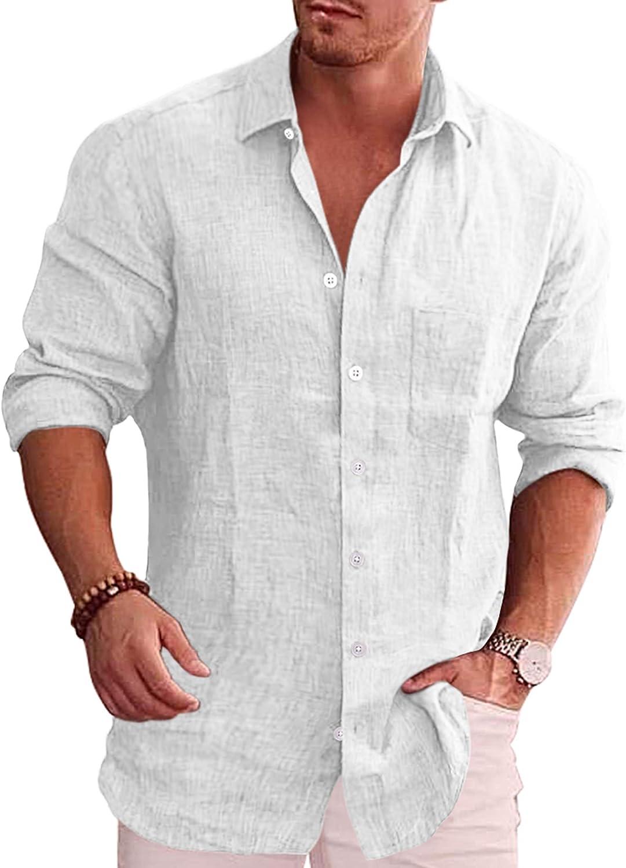 COOFANDY Men's Casual Button Down Linen Chambr Long Department store Sleeve Max 48% OFF Shirt