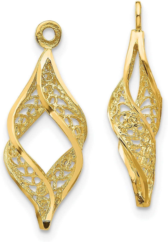 14k Yellow Gold Polished Filigree Swirl Earring Jackets 24x8 mm