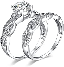 JewelryPalace Wedding Rings Engagement Rings For Women Anniversary Promise Ring Bridal Sets 925 Sterling Silver 1.5ct X Infinity White Cubic Zirconia CZ Ring Size 4-12