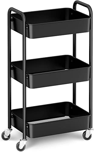 CAXXA 3-Tier Rolling Metal Storage Organizer - Mobile Utility Cart, Kitchen Cart with Caster Wheels (Black)