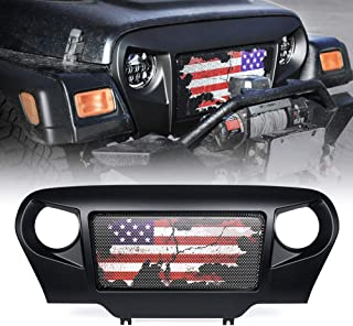 Xprite Spartan Grille Front Grill Overlay Cover with Distressed U.S. Flag Design on Steel Mesh for 1997-2006 Jeep Wrangler TJ