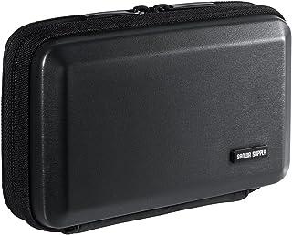 サンワダイレクト ガジェットポーチ ハードケース モバイルバッテリー 小物入れ 収納ポーチ トラベルポーチ ブラック 200-BAGIN007BK