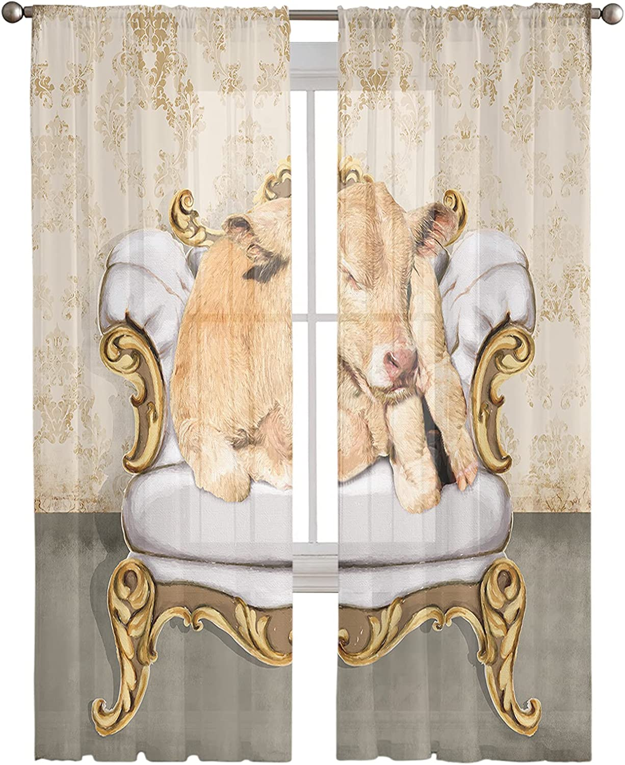 Animal Sheer Curtains 2 Panels Cheap bargain Window Drapes Rod Max 66% OFF S Pocket with
