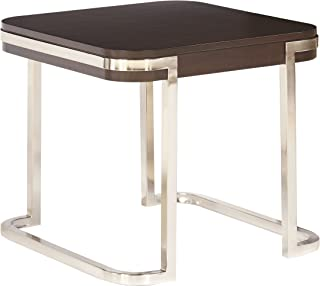 The Amazing Home C102-04 Verona Side End Table, Nickle and Anigre