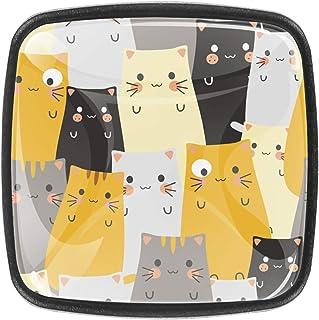 Dessin animé mignon de chat 4 PCS Tiroir de Porte Poignée, Bouton de Meubles, Boutons de Tiroir, Boutons de Porte, Poignée...