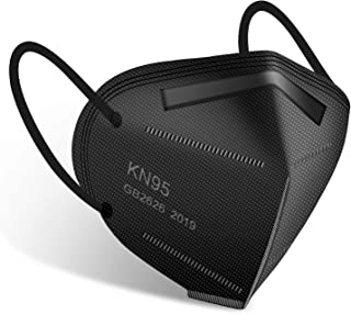 KN95 Face Mask 50 Pack, Miuphro Black KN95 Mask Protection Against PM2.5 Dust, Air Pollution