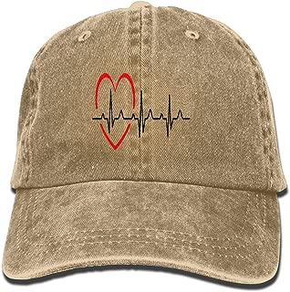 LWI DIW Heartbeat Hearts Vintage Trucker Hat Washed Denim Adult Cowboy Hat Modern Baseball Cap Tennis Cap Visor