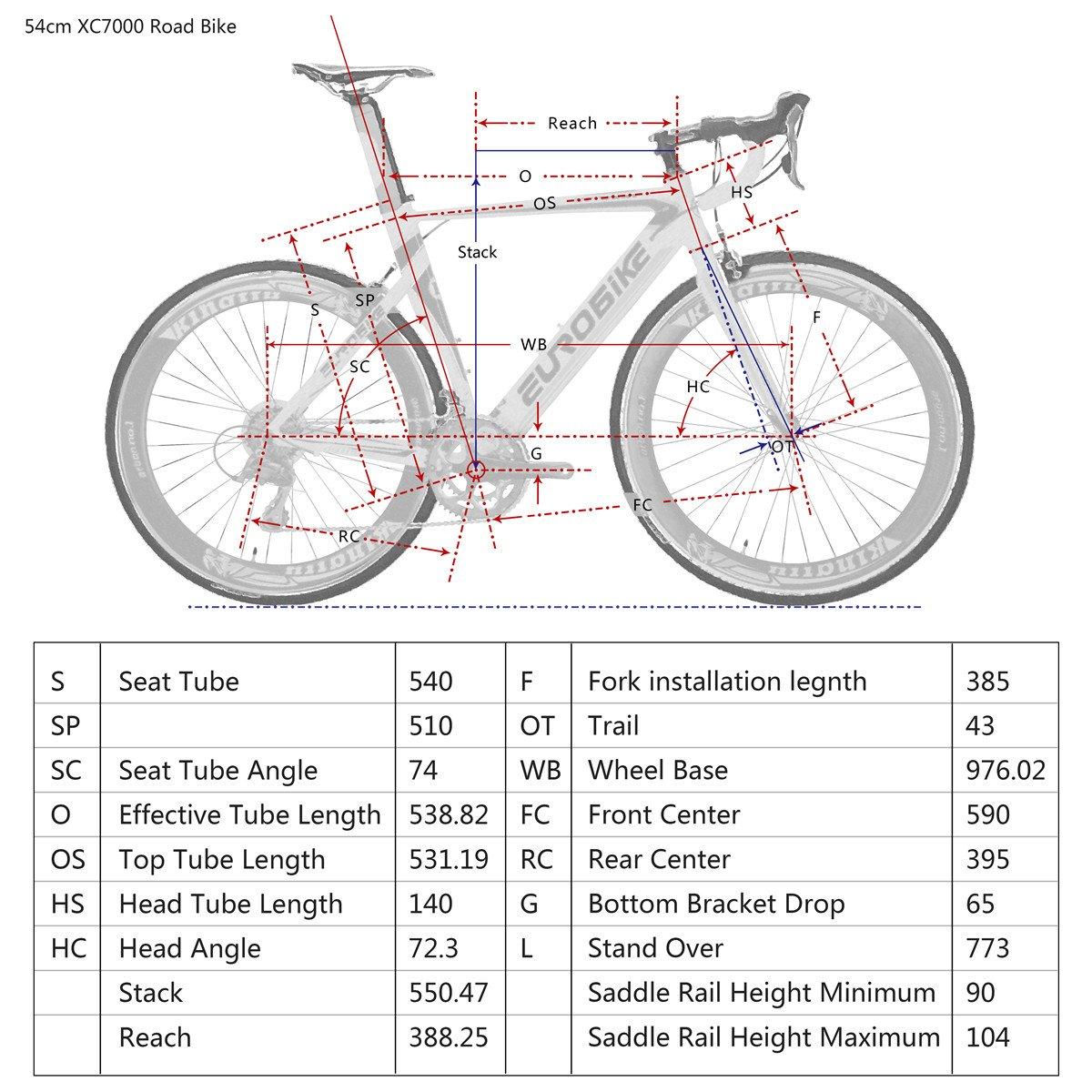 Eurobike XC7000 - Bicicleta de Carretera para Bicicleta de Carretera (Marco de Aluminio 700 C, 14 velocidades), Blanco: Amazon.es: Deportes y aire libre