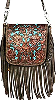 western floral tooled 100% leather fringe cross body purse