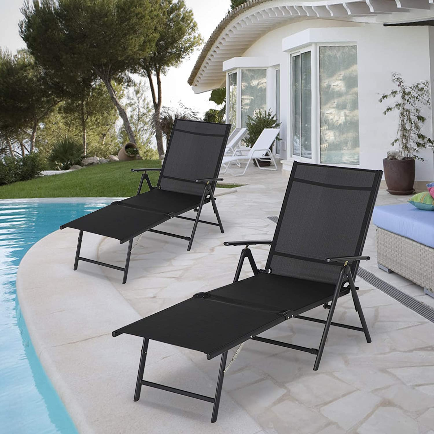 Esright Outdoor Chaise Clearance SALE Limited Challenge the lowest price of Japan ☆ time Lounge Chair Folding of Set Textiline 2