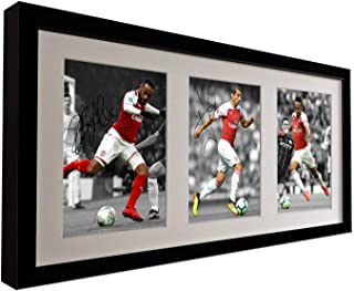 Signed 2018-19 Alexandre Lacazette - Henrikh Mkhitaryan - Pierre-Emerick Aubameyang Arsenal FC Autographed Photo Photograph Picture Frame Football Soccer Poster Gift