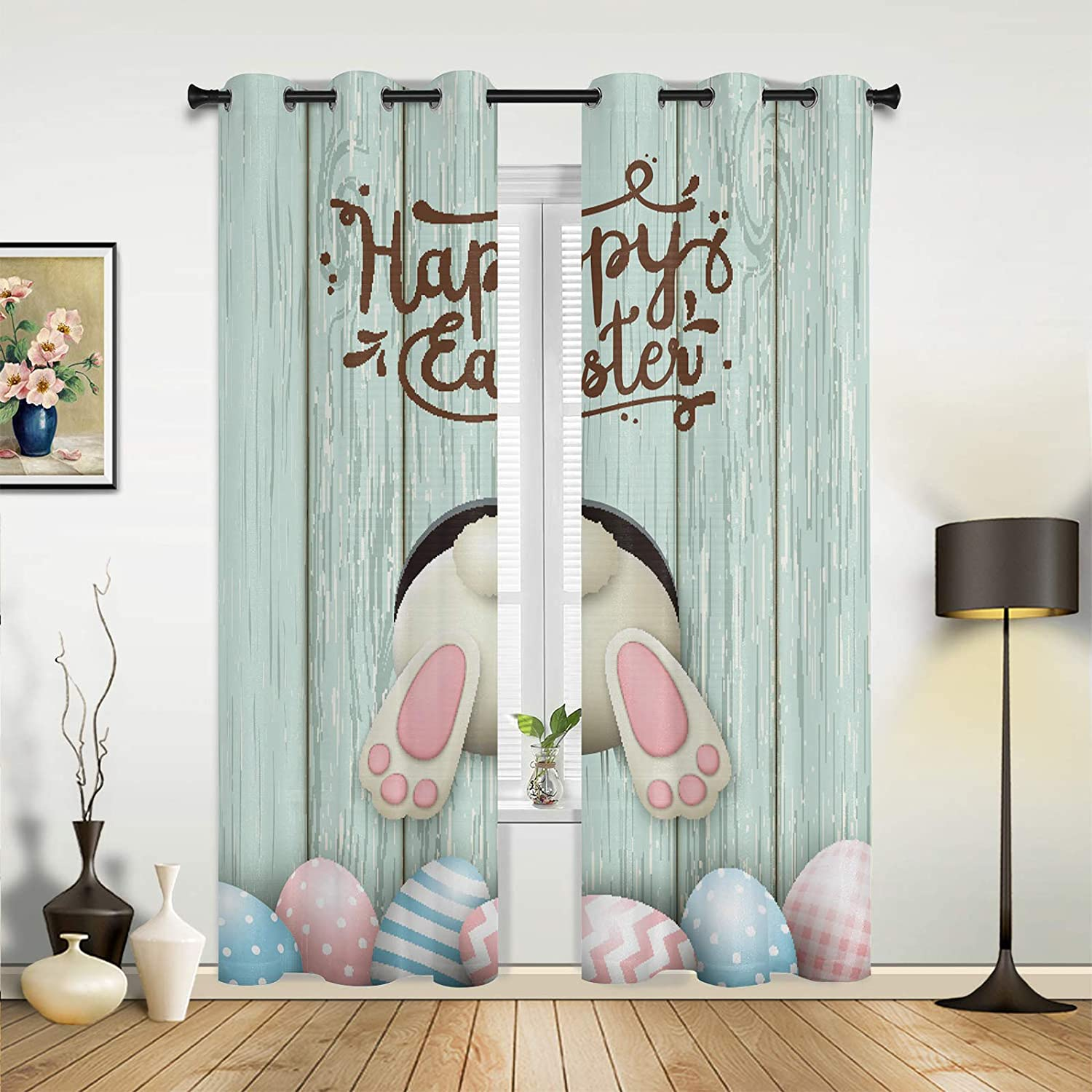 Window Curtains Bargain sale Drapes Panels Happy Bunny Cute Easter Funny Bargain sale Butt