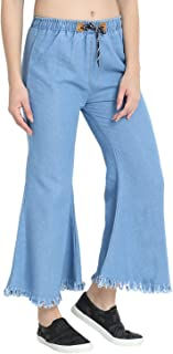 C.Cozami Blue Denim Palazzo Pants for Women