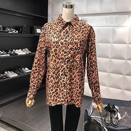 BYZ Manga Larga con Estampado de Leopardo de Temperamento ...