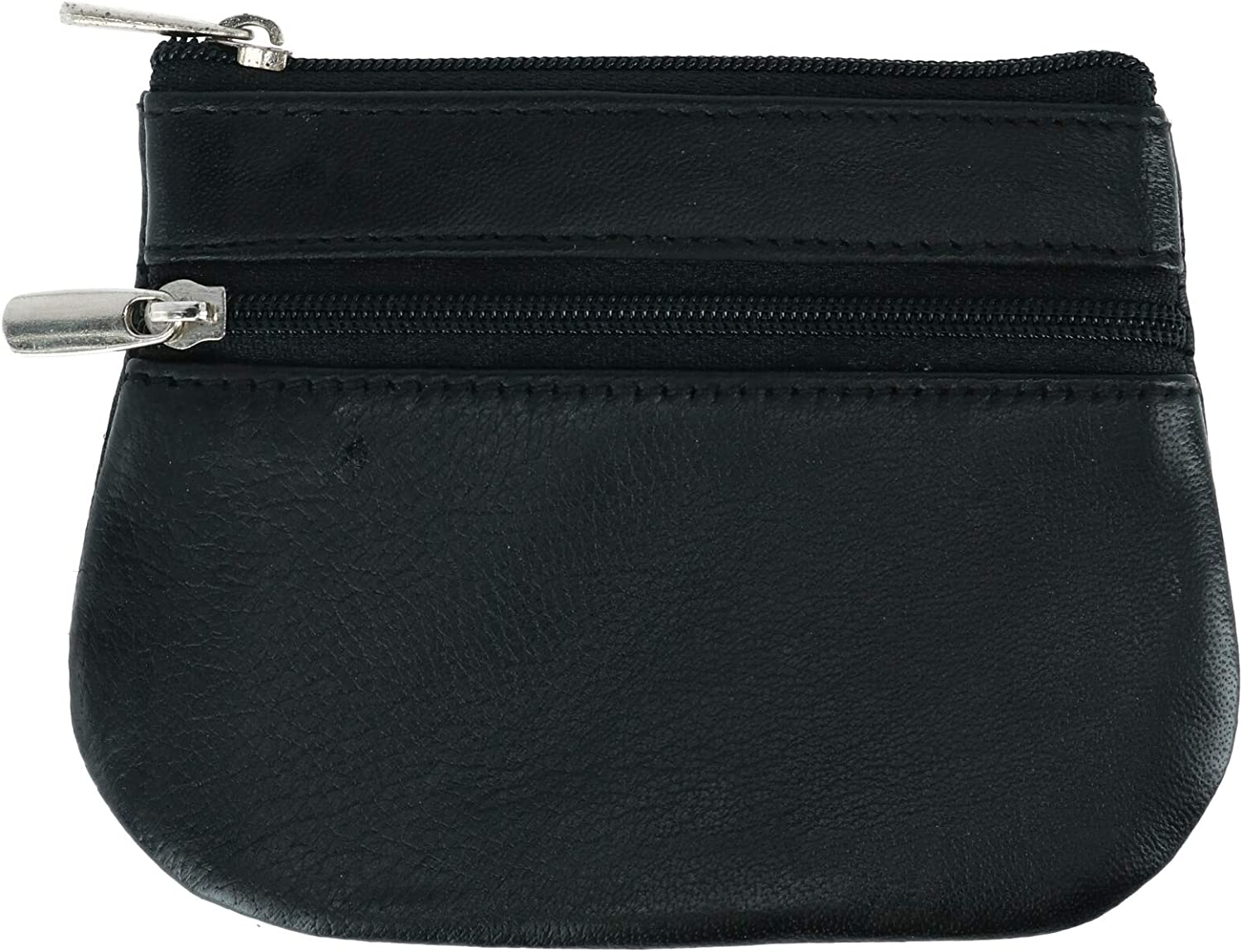 CTM Leather Zipper Coin Pouch Wallet