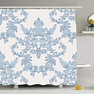 Ahawoso Shower Curtain Set with Hooks 66x72 Vintage Baroque Damask Banner Floral Elegant Luxurious Swirl Motif Pattern Color Decor Acanthus Waterproof Polyester Fabric Bath Decor for Bathroom