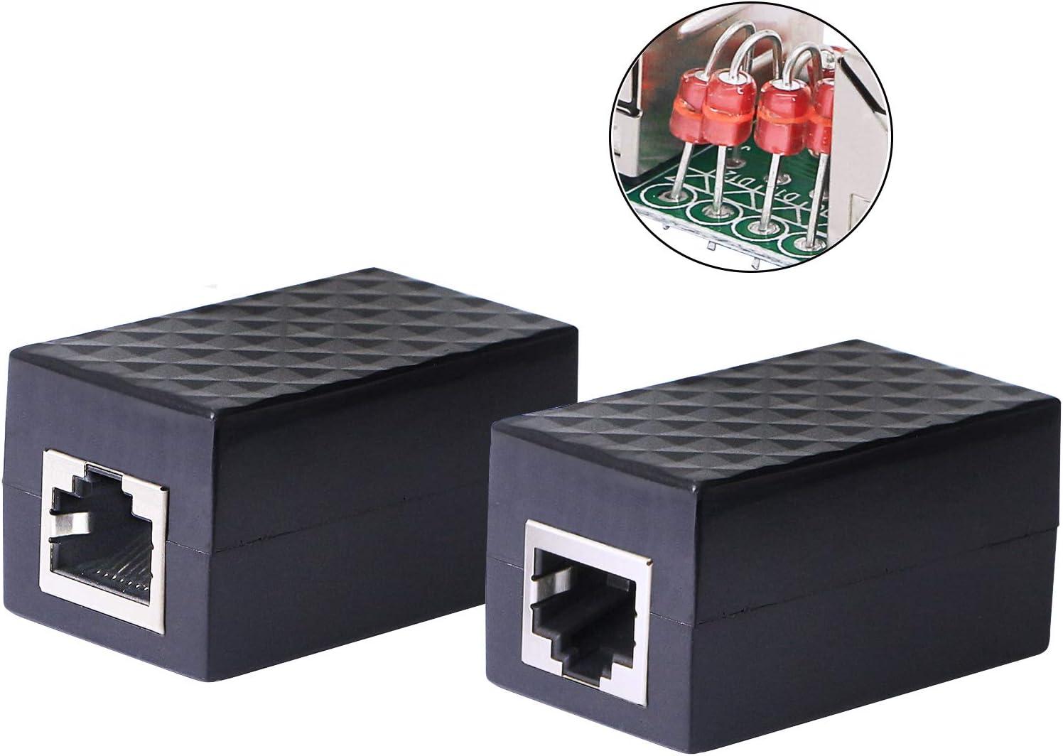 CERRXIAN Ethernet Surge Protector RJ45 Coupler Female to Female Network Surge Protector Outdoor Arrester