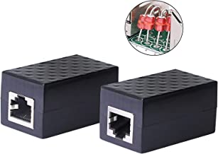 CERRXIAN Ethernet Surge Protector RJ45 Coupler Female to Female Network Surge Protector Outdoor Arrester Protection Device Extension Adapter(2-Pack)