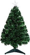 HOMCOM 3ft Artificial Christmas Tree Multi-Colored Fiber Optic LED Pre-Lit Holiday Decoration