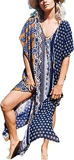 Bsubseach Women Sexy Lace Crochet Open Front Swimsuit Beach Long Kimono Cover Ups