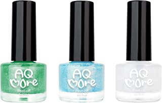 AQMORE Non Toxic Water Based Peel Off Nail Polish (Glitter) – Stays on for Days, Gel-like Shine, Dries in Minutes, Fragrance & Paraben Free, Kid Safe, 2 Glitters + 1 Top Coat (0.20 fl oz/Bottle)-RONA