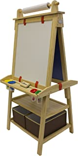 Little Partners Deluxe Art Easel (Natural) - Two Sided A-Frame Paint Easel, Chalk Board & Magnetic Dry Erase - w/Storage, Supply Holder & Paper Feed - Art Station & Educational Tool for Toddlers