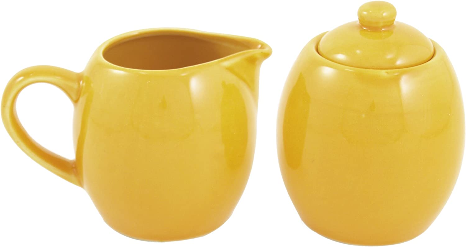 Yellow Ceramic Creamer and Mail order Sugar Super sale Service Set Lid with