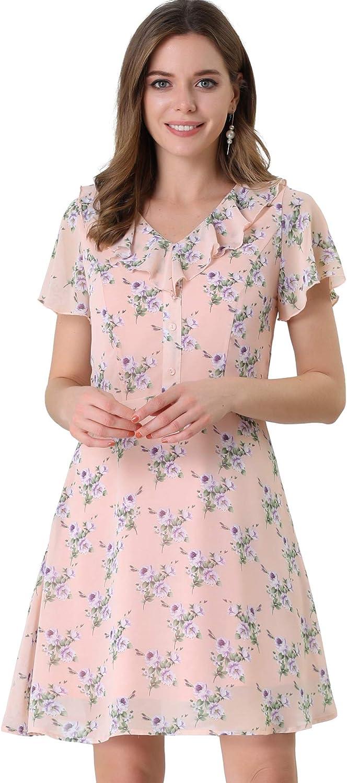 Allegra K Women's Ruffle Neck Short Sleeve A-Line Flowy Chiffon Floral Dress