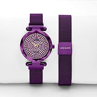 Louis Martin Purple Magnetic Straps Watch Crystal Dial For Women's Analog - LM2111