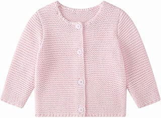 Baby Girls' Long Sleeve Knitted Cardigan Sweaters Toddler Button-Down Cotton Coat Outerwear