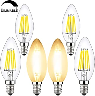 BRIMAX Candelabra Led Bulbs DimmablE, E12 Base, 2700K Yellow Glow, B10/B11 Filament Led Candle Light Bulbs for Foyer Chandeliers, Celling Fans and Other Wall Fixtures (2700K, C35-6W)
