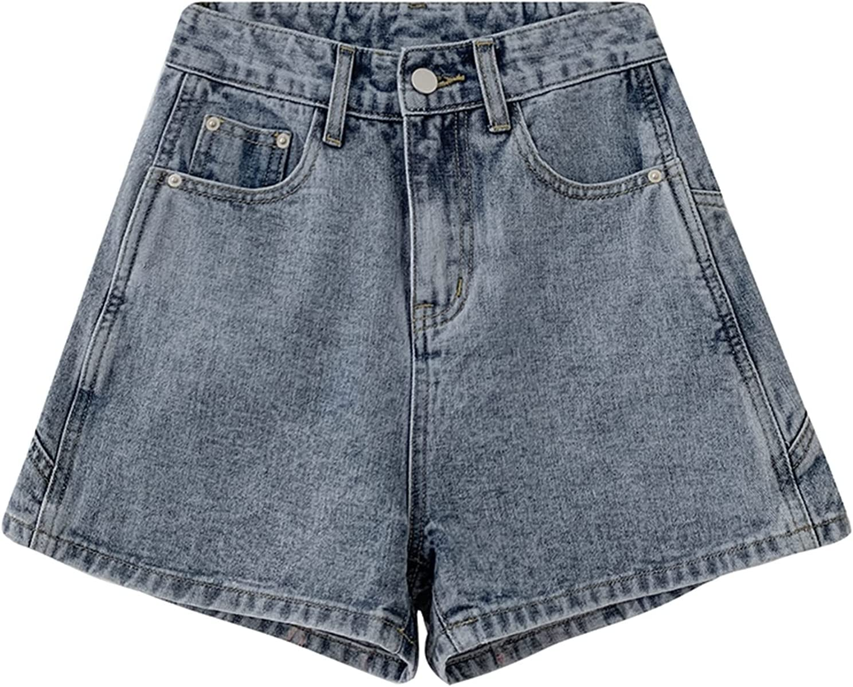 BXSM Jeans Shorts High Waist Large A-line Shorts (Color : Blue, Size : Large)