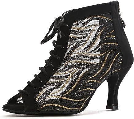 Minishion TQJ9019 Mens Round Toe Leather Tango Latin Ballroom Dance Shoes