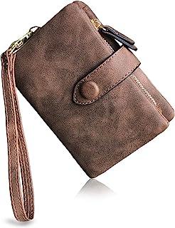 محفظة نسائية صغيرة مزدوجة الطي Rfid Ladies Wristlet مع فتحات بطاقات الهوية نافذة سحاب محفظة عملات معدنية