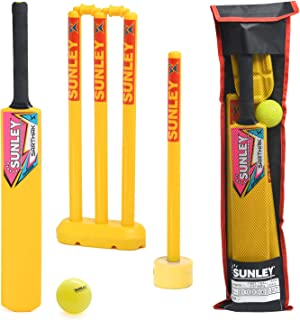 SUNLEY Plastic Cricket kit for All Age Groups and Sizes (1 Piece Cricket Bat, 4 Piece Wickets, 2 Piece Base, 2 Piece Bails...