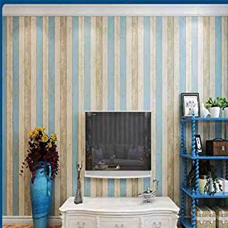 Méditerranée 3d papier peint à rayures, nostalgique Bois Chambre à coucher Salon TV Fond mural chambre d'enfant librairie papier peint intissé, 10m*0.53m, Bleu, Jaune, Blanc, Jaune, Bleu Begei