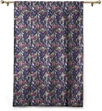 Blackout Roman Curtain Vintage,Narcissus and Iris Blooms Summer Season Illustration with Colorful Petal and Leaves, Multicolor,48