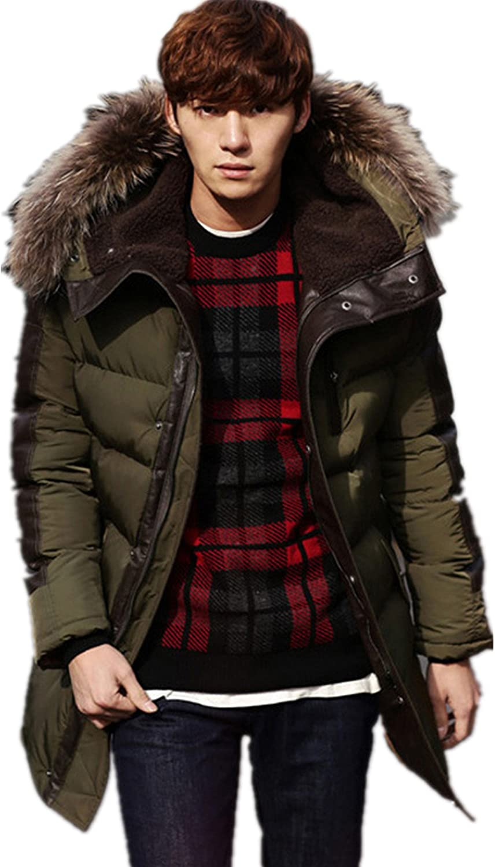 Allonly Men's Fashion Cotton Overcoat Big Fur Hoodie Windbreaker Jacket