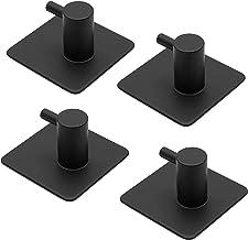 4 stuks handdoekhaken wandhaken zonder boren, zelfklevende wandhaken, roestvrij stalen haken voor keuken en badkamer (zwart)