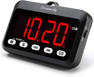DreamSky Digital Kitchen Timer with Large Red Digit Display, Loud Alarm with ON/OFF Power Button, Count Up/Down Timer, Mag...
