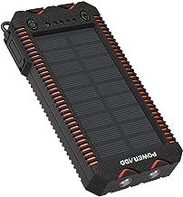 POWERADD Cargador Solar Portátil con 12000mAh, Batería Externa 2 Puertos de USB Panel Solar con Alta Eficiencia de Conversión Impermeable Inteligente, Color Naranja y Negro.