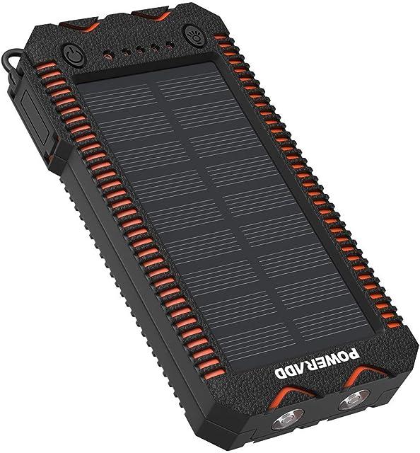 POWERADD Cargador Solar Portátil con 12000mAh Batería Externa 2 Puertos de USB Panel Solar con Alta Eficiencia de Conversión Impermeable Inteligente Color Naranja y Negro.