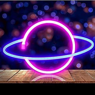 Planète Néon Enseignes lumineuses Décoration murale,Neon Light, LED Neon Planète,Murale Lumineuse Décorative