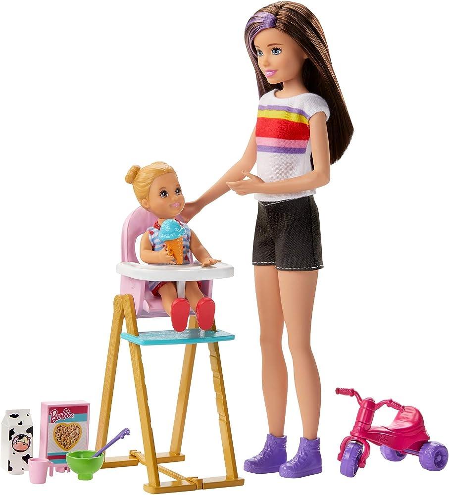Barbie- skipper babysitters bambola che dà la pappa giocattolo per bambini 3+ anni GHV87