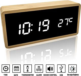 Alfheim Reloj Despertador Digital de Madera de bambú LED Light 12/24Hr - Espejo de Escritorio Pantalla HD Reloj con Control de Voz/Temperatura - USB y Alimentado por batería