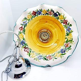 Lampadario diametro 30 centimetri Linea Fiori Misti Ceramica Le Ceramiche del Castello Pezzo Unico Handmade Made in Italy