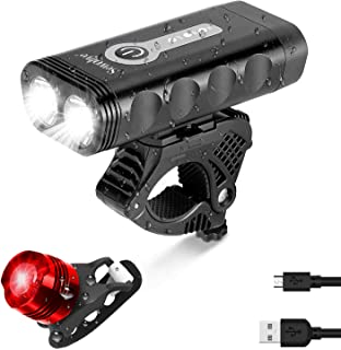 SEWOBYE Front Bike Lights Set Rear, Road Cycle Light Pack Bicycle, Mountain Cycling Light Night Rechargeable Waterproof